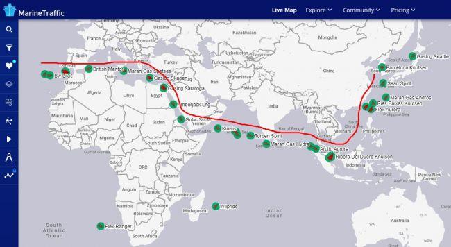 Армада танкеров с СПГ из США идет в Азию по альтернативному маршруту
